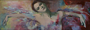 Angel Art Painting Originals - When a dream has colored wings by Dorina  Costras
