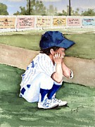 Baseball Uniform Painting Prints - When Do I Get To Play Print by Sam Sidders