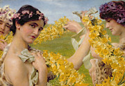 Yellow Fairy Paintings - When Flowers Return by Sir Lawrence Alma-Tadema