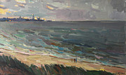 Azov Paintings - When in port light up lights by Juliya Zhukova
