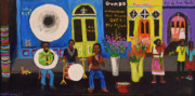 Mardi Gras Paintings - When Pigs Flew in Nola by Angela Annas