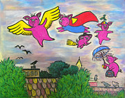 Umbrella Pastels Prints - When Pigs Fly Print by Deborah Willard