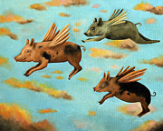 Pig Prints - When Pigs Fly Print by Leah Saulnier The Painting Maniac