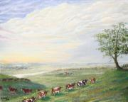 Wingsdomain Paintings - When the Cows Come Home 1991 by Wingsdomain Art and Photography