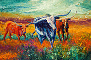 Horns Painting Framed Prints - When The Cows Come Home Framed Print by Marion Rose