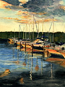 Boats In Water Paintings - When The Evening Come by Melly Terpening