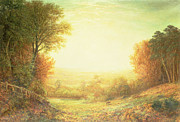 Autumn Woods Painting Prints - When the Sun in Splendor Fades Print by John MacWhirter