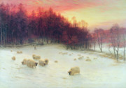Winter Scene Painting Metal Prints - When the West with Evening Glows Metal Print by Joseph Farquharson