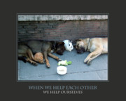 Motivational Posters Posters - When We Help Each Other Poster by Donna Corless