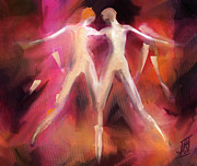 Pinks Mixed Media Posters - When you Dance with Me Poster by Rosy Hall