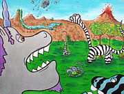 Green Dinosaur Posters - When Zebrasaurs Walked The Earth Poster by Jera Sky