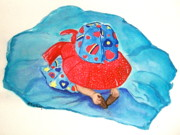 Sun Hat Prints - Where are my feet Print by Nancy Rucker