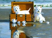 Dog Play Beach Paintings - Where are the Cookies by Candace Lovely
