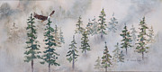 Snowy Trees Paintings - Where Eagles Fly by Gregg Litchfield
