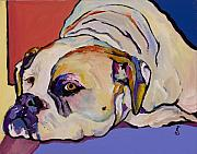 Acrylic Dog Paintings - Where Is My Dinner by Pat Saunders-White            