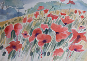 Korean War Paintings - Where Poppies Grow by Barbara McMahon