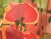 Red Poppies Pastels - Where poppies grow by Catherine Dewulf