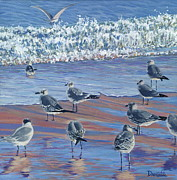 Beach Sunset Paintings - Where Seagulls Play by Danielle  Perry