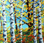 Original  By Artist Paintings - Where the birches Grow by Richard T Pranke