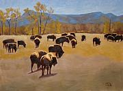 Featured Painting Posters - Where the buffalo roam Poster by Tate Hamilton