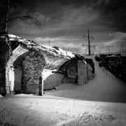 Snow Prints - Where The Mill Once Stood Print by Bob Orsillo