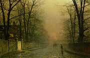 Cobbled Framed Prints - Where the pale moonbeams linger  Framed Print by John Atkinson Grimshaw