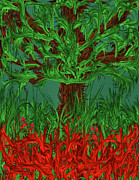 Tree Ferns Digital Art - Where the Red Ferns Grow by Elizabeth Coats