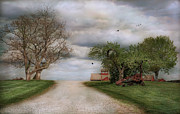 Scenic Barn Posters - Where the Road Meets the Sky Poster by Robin-Lee Vieira