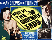 Lobbycard Prints - Where The Sidewalk Ends, Gene Tierney Print by Everett