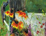 Fences Paintings - Where The Wild Flowers Grow by Frances Marino