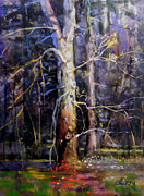 Woodland Pastels Originals - Where the Woods Get Heavy by Tom Christopher