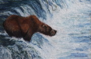 Grizzly Pastels Prints - Wheres the fish. Print by Tracey Hunnewell