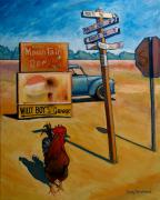 Road Sign Paintings - Whether to Cross by Doug Strickland