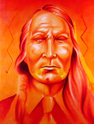 Native-american Mixed Media Prints - Which Side Print by Robert Martinez