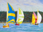 Boats In Harbor Originals - Whidbey Racers by James Geddes