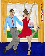 Barack Obama Painting Prints - While America Withers Print by Sal Marino