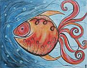 Animals Pastels Originals - Whimpsy Fish 2 by Rain Ririn