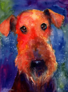 Russian Drawings Acrylic Prints - Whimsical Airedale Dog painting Acrylic Print by Svetlana Novikova