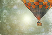 Balloon Art Print Prints - Whimsical Balloon Flight Print by Andrea Hazel Ihlefeld