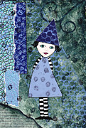 Karenpappert Framed Prints - Whimsical Blue Girl Mixed Media Collage  Framed Print by Karen Pappert