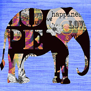 Hippie Mixed Media Posters - Whimsical Bohemian Elephant Poster by AdSpice Studios
