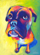 Pet Portrait Artist Posters - Whimsical Boxer dog Poster by Svetlana Novikova