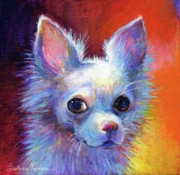Custom Dog Portraits Framed Prints - Whimsical Chihuahua Dog painting Framed Print by Svetlana Novikova