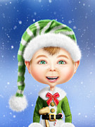 Boy Digital Art Originals - Whimsical Christmas Elf by Bill Fleming