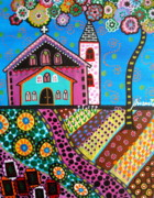 Church Prints Paintings - Whimsical Church by Pristine Cartera Turkus