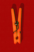 Hangers Posters - Whimsical Clothespin Pop Art . Painterly . Red Version Poster by Wingsdomain Art and Photography