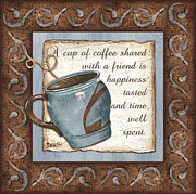 Blue Brown Paintings - Whimsical Coffee 2 by Debbie DeWitt