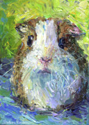 Pictures Drawings Prints - Whimsical Guinea Pig painting print Print by Svetlana Novikova