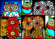 Black And White Owl Paintings - Whimsical Owl Collage by Amy Carruth-Drum