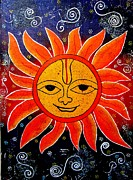 Whimsical Painting-whimsical Sun God Print by Priyanka Rastogi